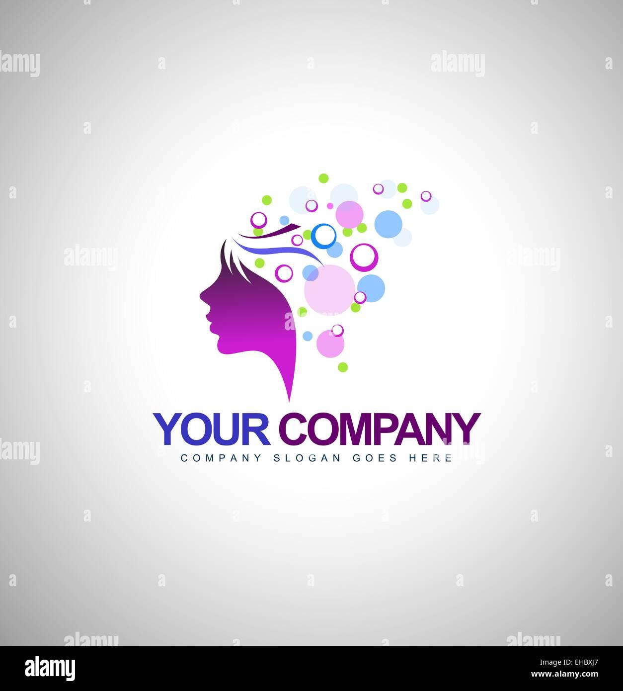 Schönheit-weibliche Gesicht Logo Design.Cosmetic-Salon-Logo-Design. Kreative Frau Gesicht Vektor. Haar-Salon Stockbild