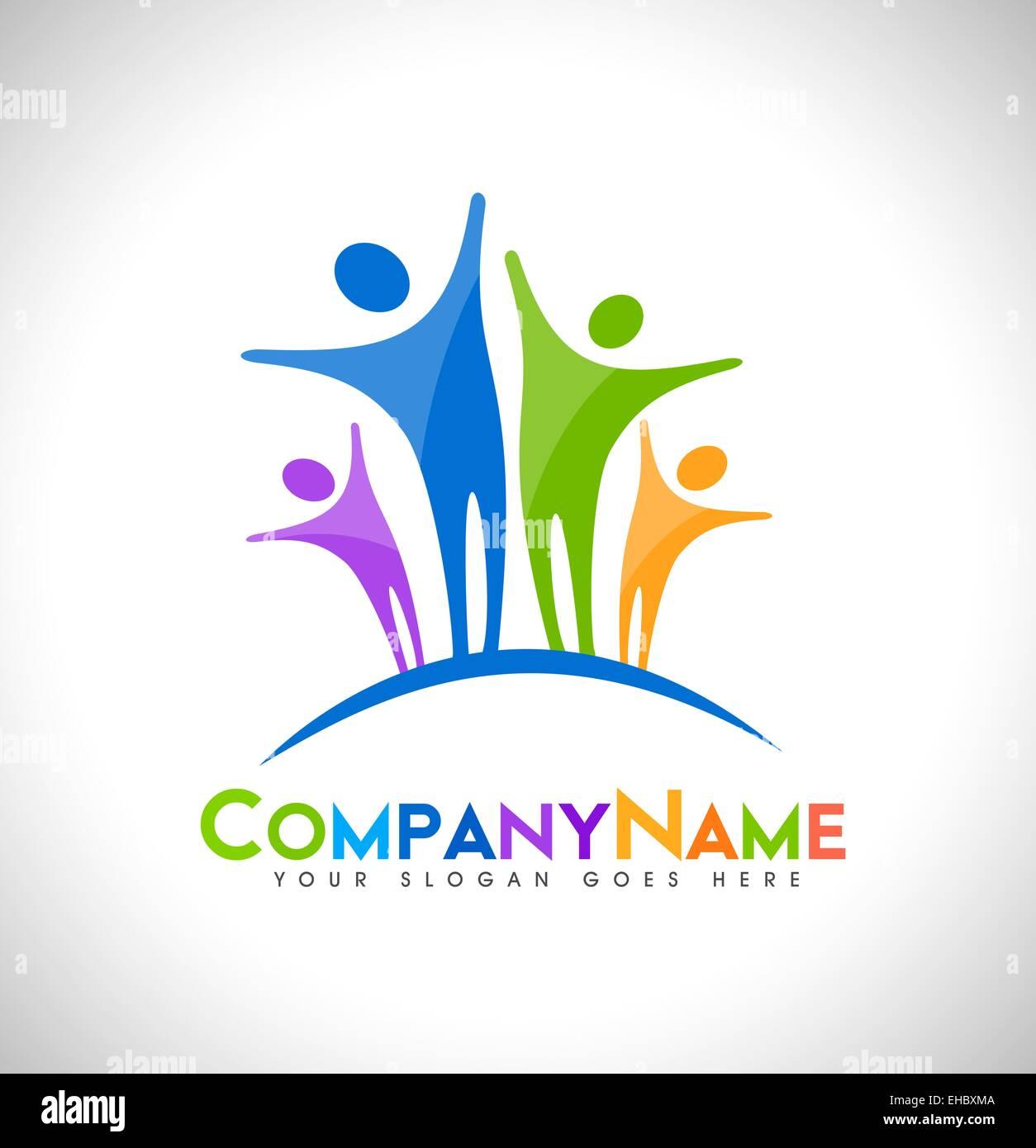 Menschen-Logo-Design. Einheit-Logo-Design-Konzept mit Visitenkarte ...
