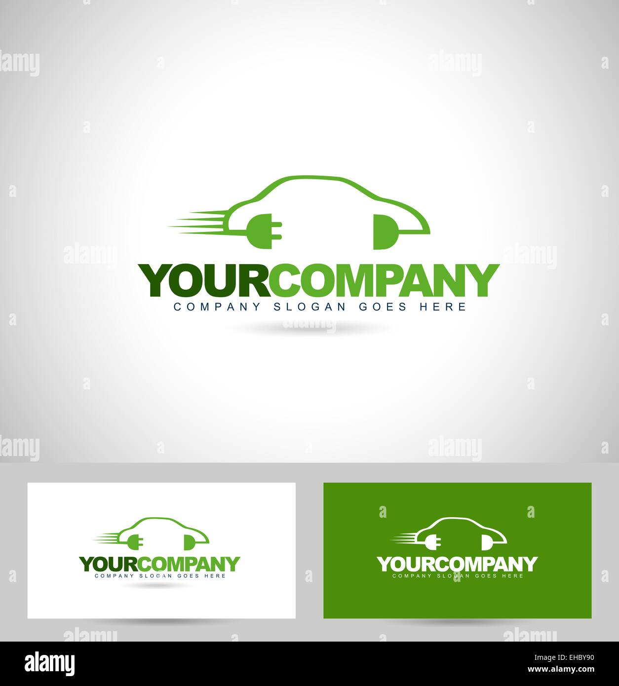 Elektroauto-Konzept-Logo. Kreative Vektor-Logo mit grünen betriebene ...