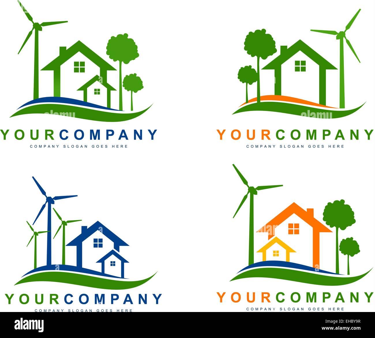 Grüne, umweltfreundliche Elektrizität. Nachhaltige Windenergie beherbergt Logo. Kreative Vektorelemente Stockbild