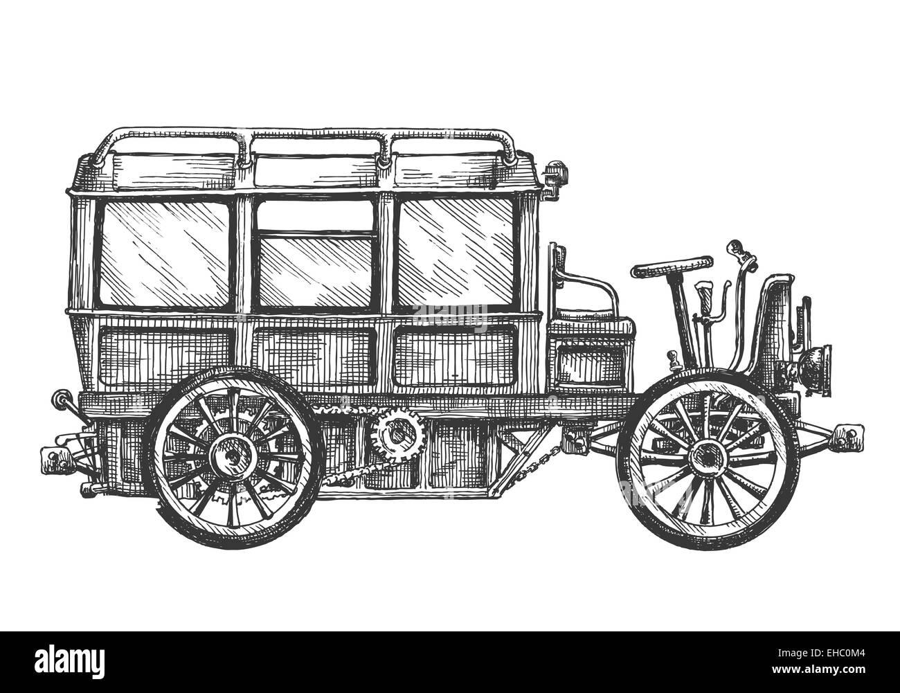 Retro-Auto-Vektor-Logo-Design-Vorlage. Fahrzeug oder Bus-Symbol ...
