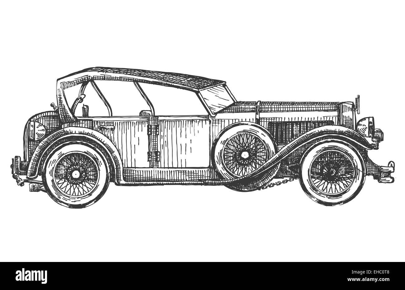 Retro-Auto-Vektor-Logo-Design-Vorlage. Transport oder Fahrzeug ...