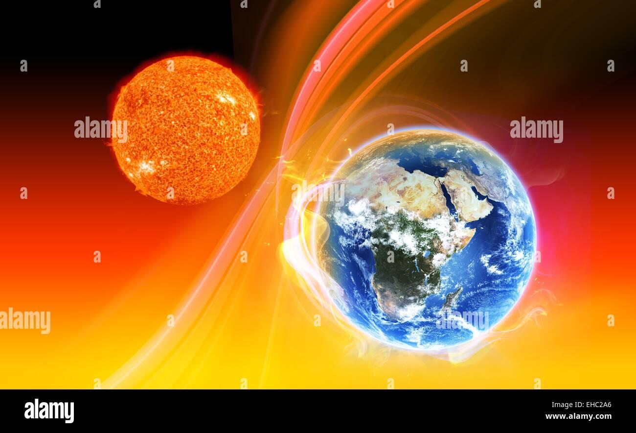 Sonne, die Erde Atmosphäre Abbildung globale Erwärmung Konzept Heizung Stockbild
