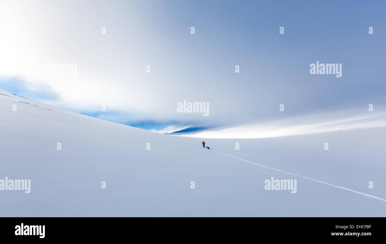 Skifahren, Wandern am Kebnekaise Berggebiet, Kiruna, Schweden, Europa, EU Stockbild