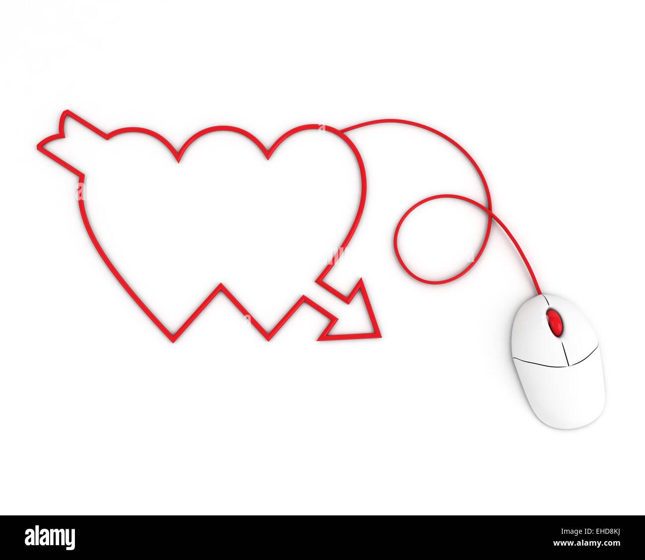 zwei Herzen dargestellt durch Computer-Maus-Kabel Stockfoto, Bild ...