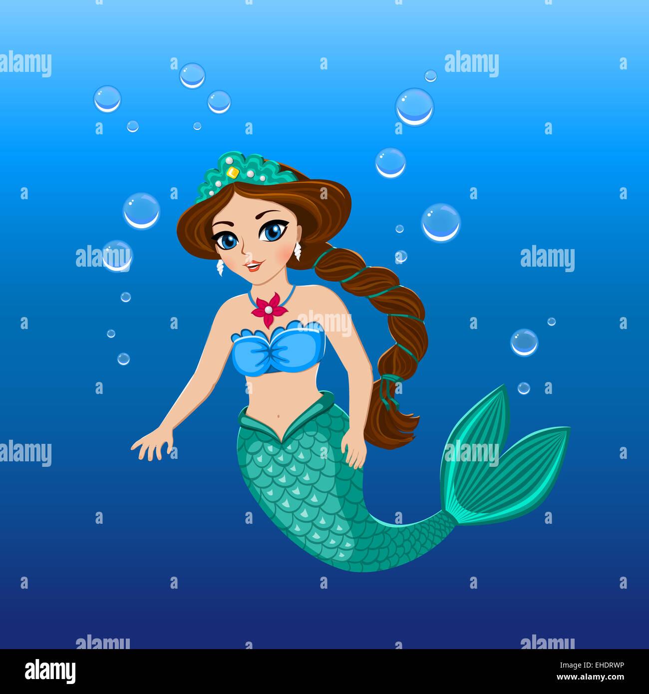 Mermaid Illustration Sea Stockfotos & Mermaid Illustration Sea ...