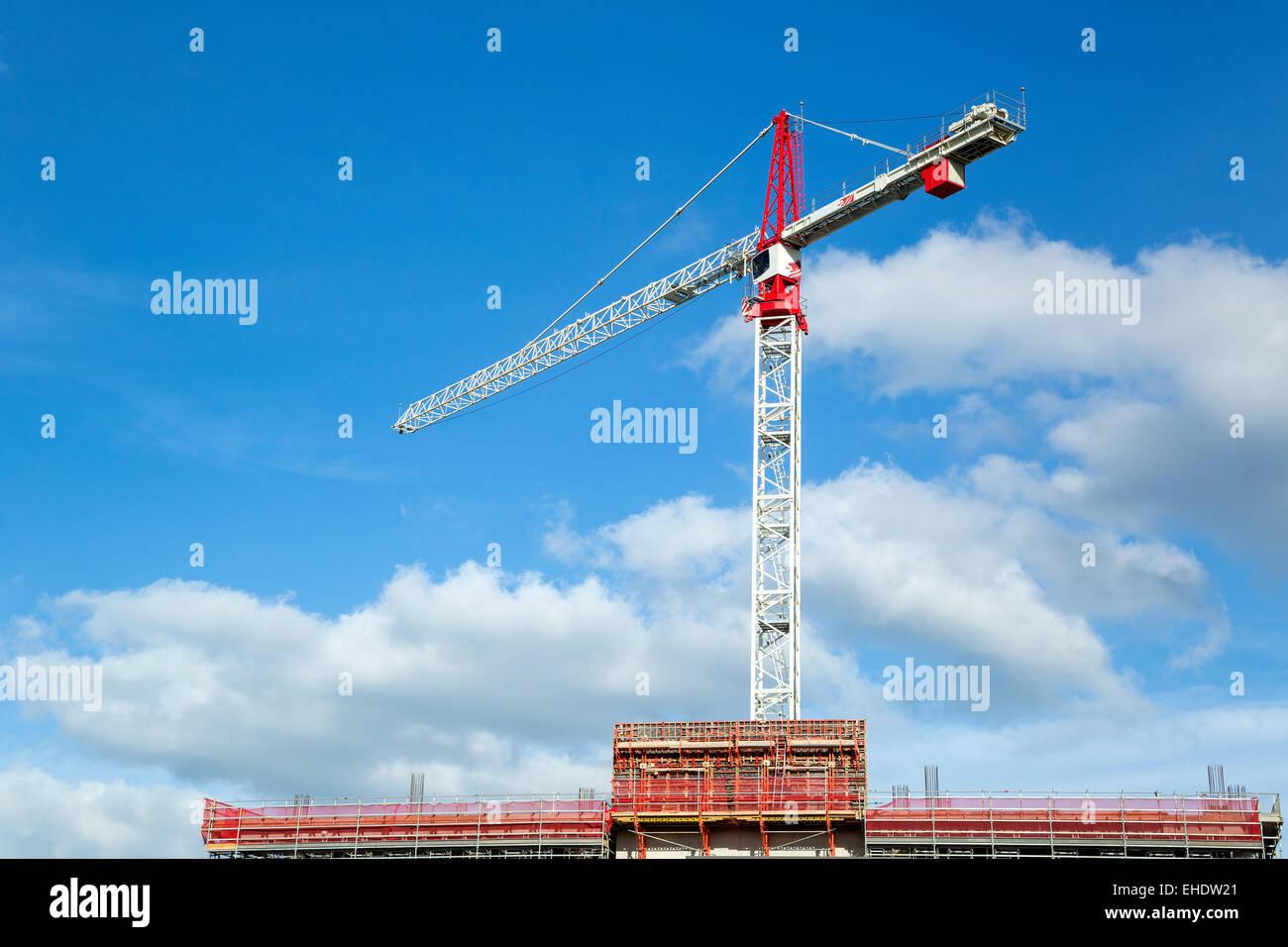 Kran auf Baustelle Stockbild