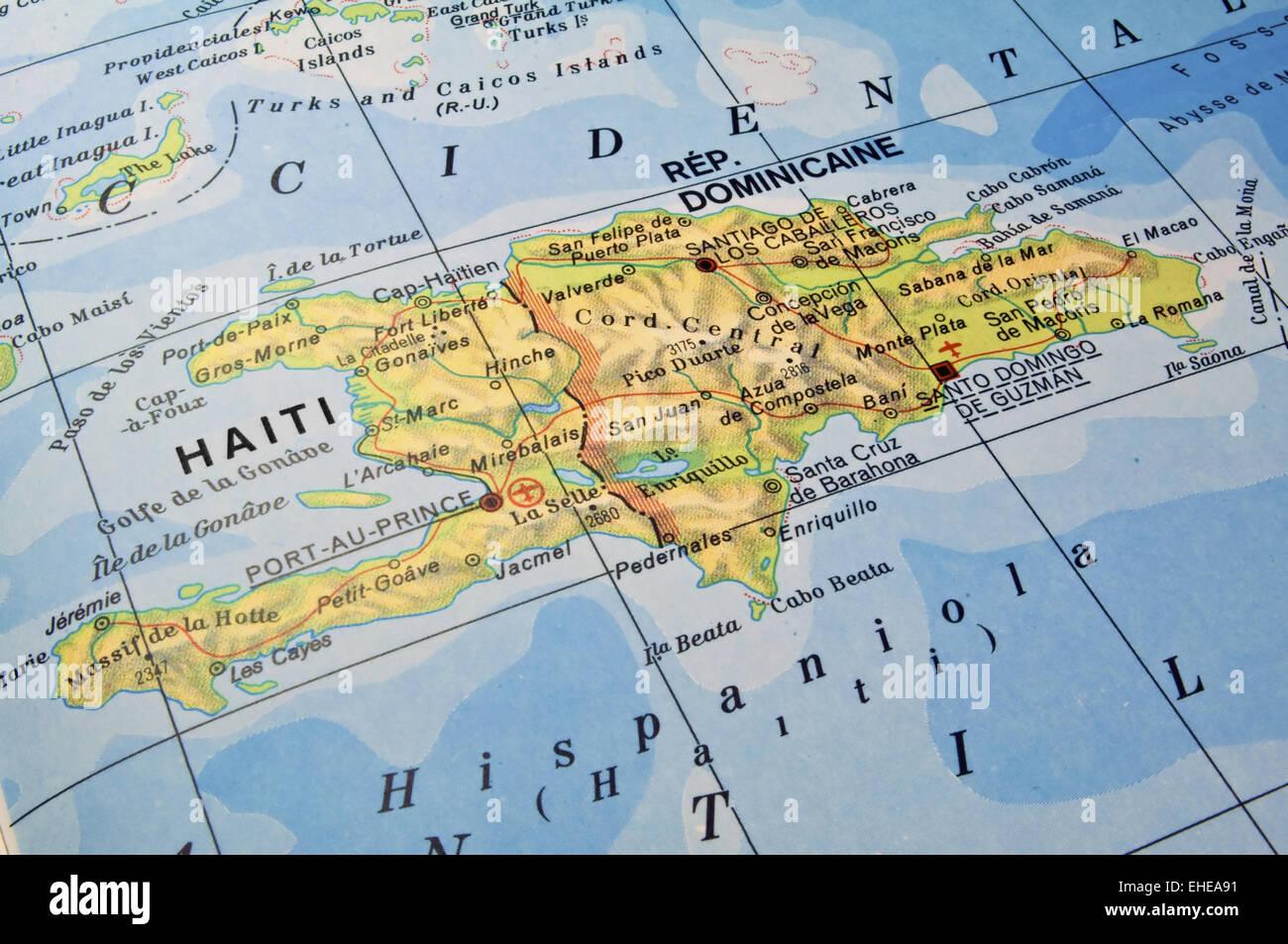 Dominikanische Republik Haiti Karte Stockfoto Bild 79606045 Alamy