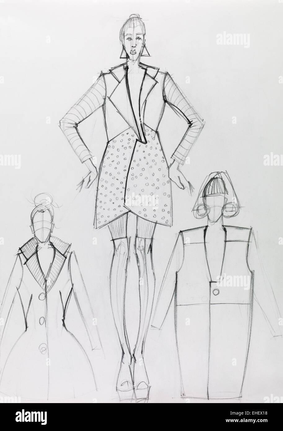 schwarze und weiße Hand gezeichneten Mode Designskizze Stockfoto
