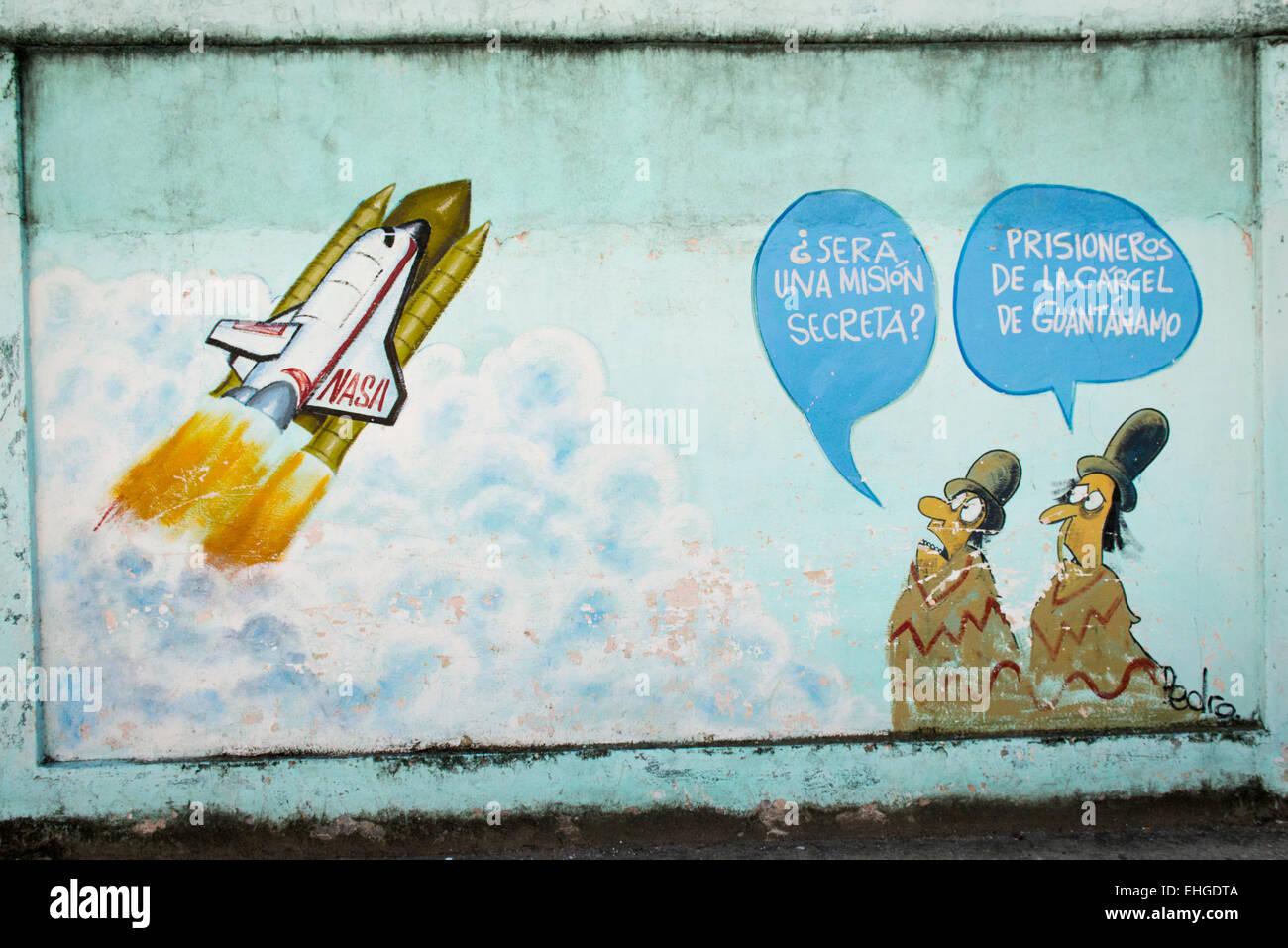 Cuba-Santa Clara Reihe politische Extreme anti-USA North American Cartoon cartoons Wandbilder Wände Rakete Stockbild