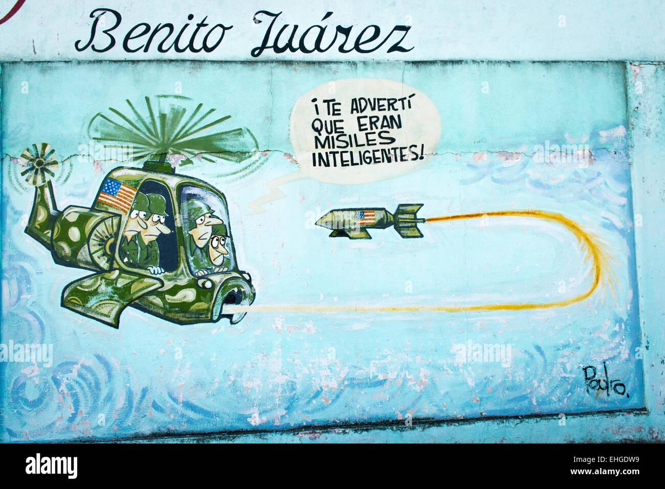 Cuba-Santa Clara Reihe von politischen extremen anti-USA North American Cartoon Cartoons Wandbilder Wände Hubschrauber Stockbild