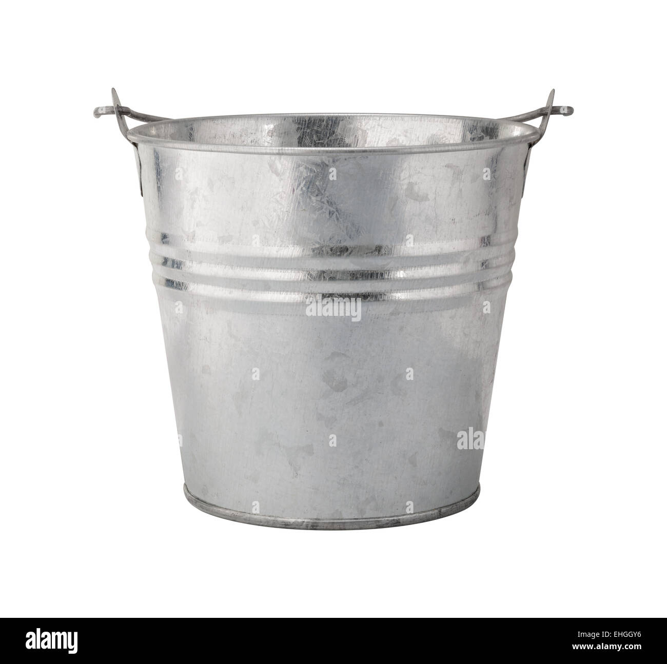 Metall-Eimer isoliert auf weiss Stockbild