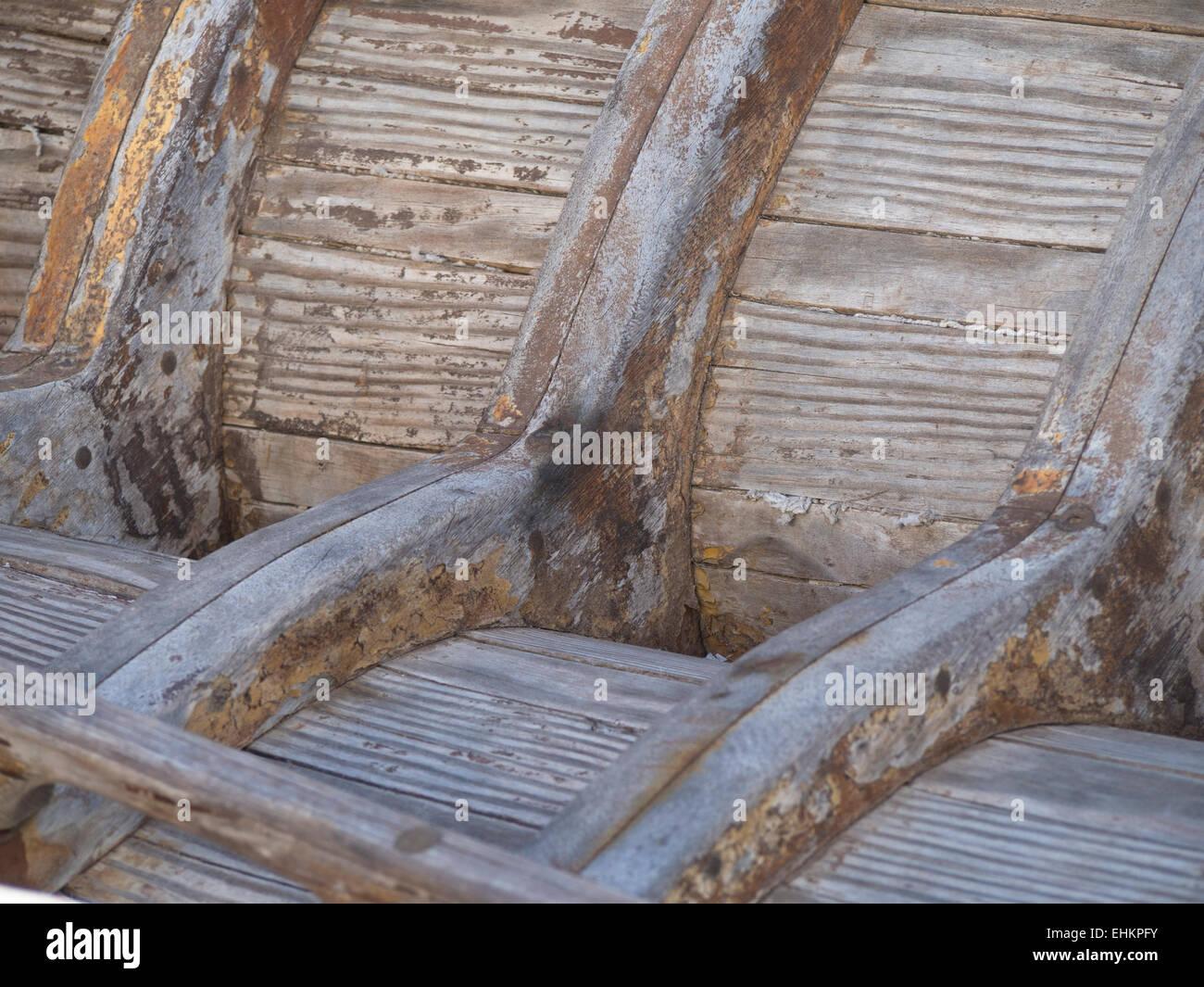 Detail des Inneren der Angeln Boot Rumpf Holzrahmen und Bohlen ...