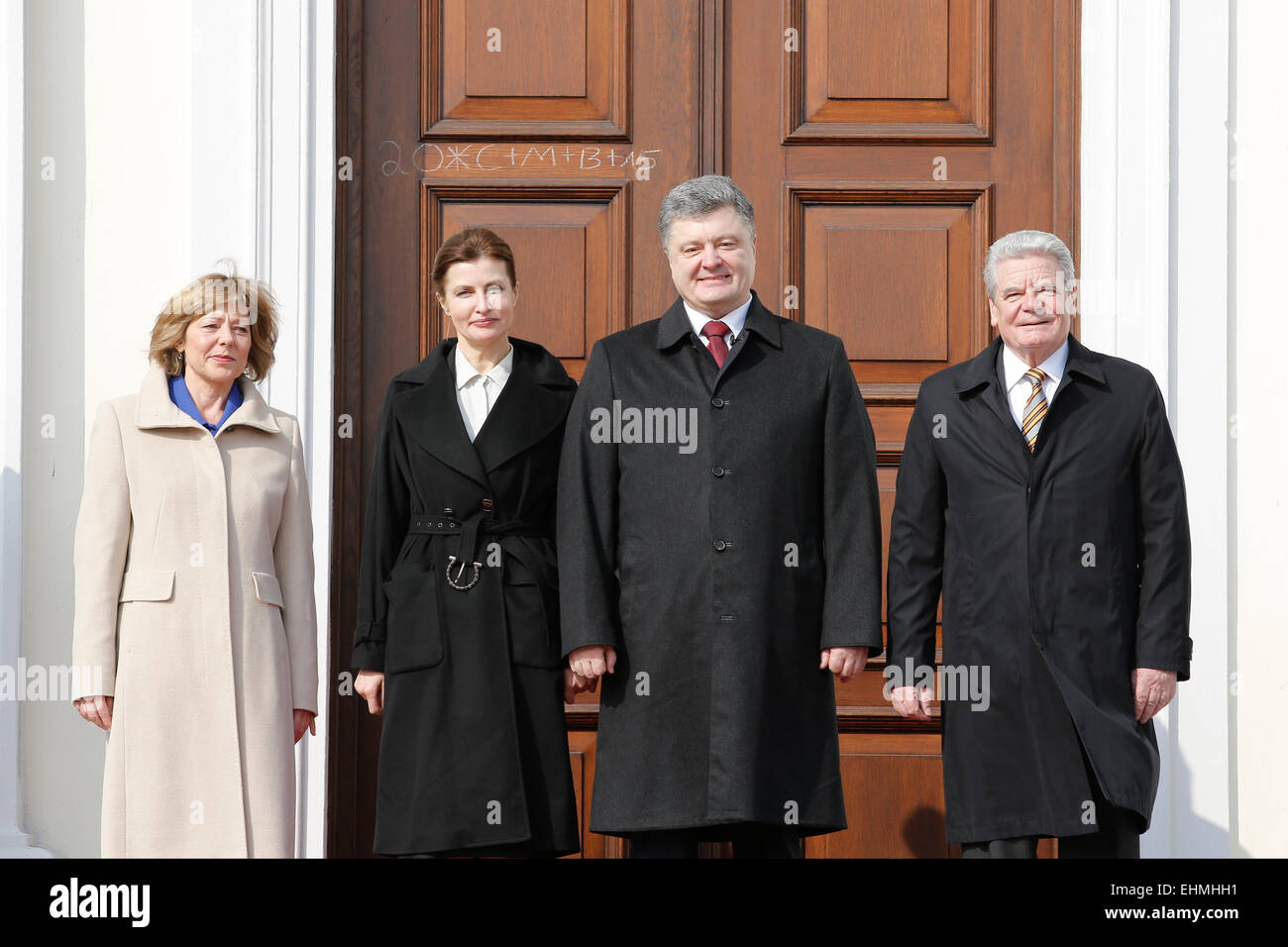 Berlin, Deutschland. 16 Mär, 2015. Präsident der Deutschen Gauck joachin, begrüßt petro Poroschenko, Präsident der Stockfoto