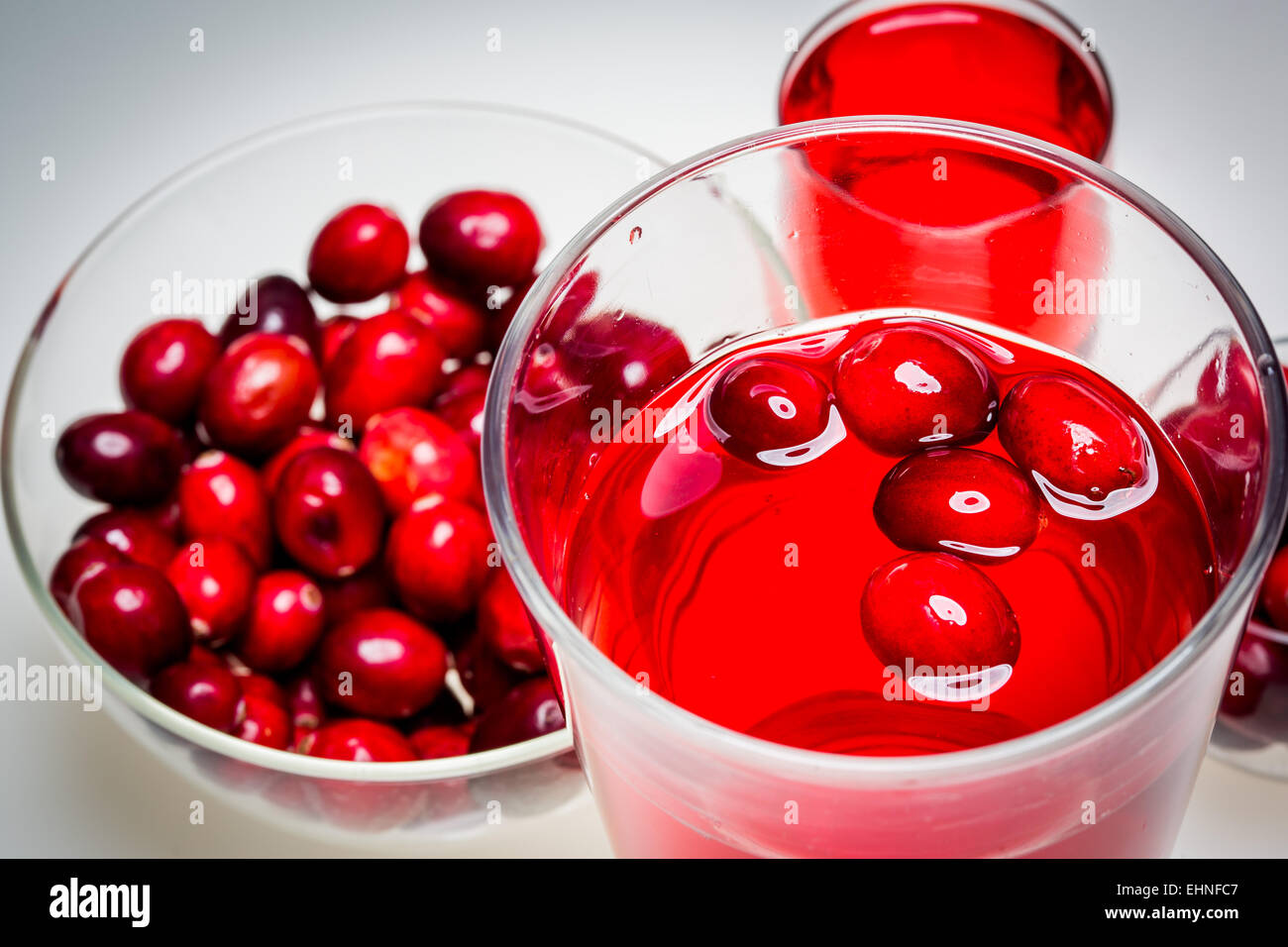 Glas Cranberry-Saft. Stockbild