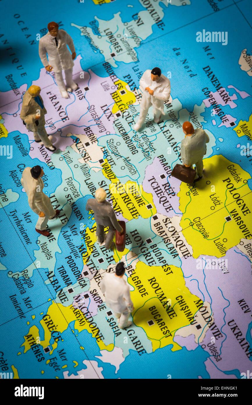Abbildung auf die Mobilität von Allgemeinmedizinern in Europa. Stockbild