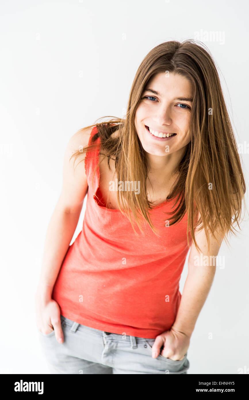 Porträt der lächelnde Frau. Stockbild