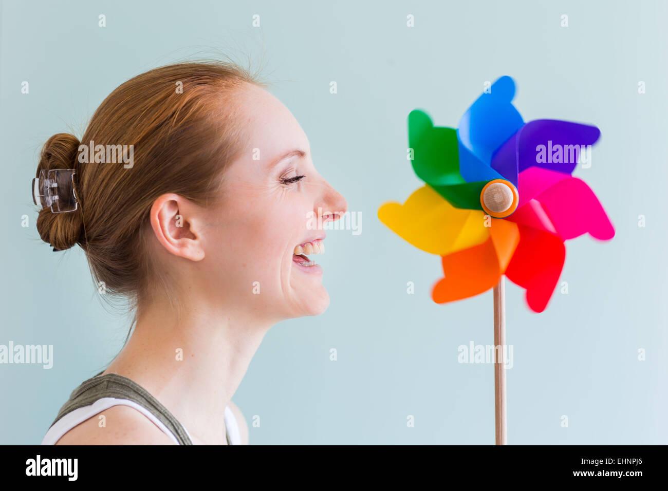 Konzeptbild des Atems. Stockbild