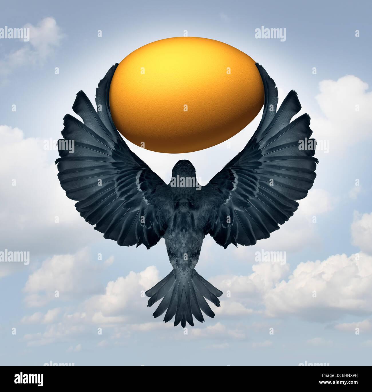 Wealth Management und Transfer von Geldern als Finanz- und Investmentkonzept als einen fliegenden Vogel trägt Stockbild