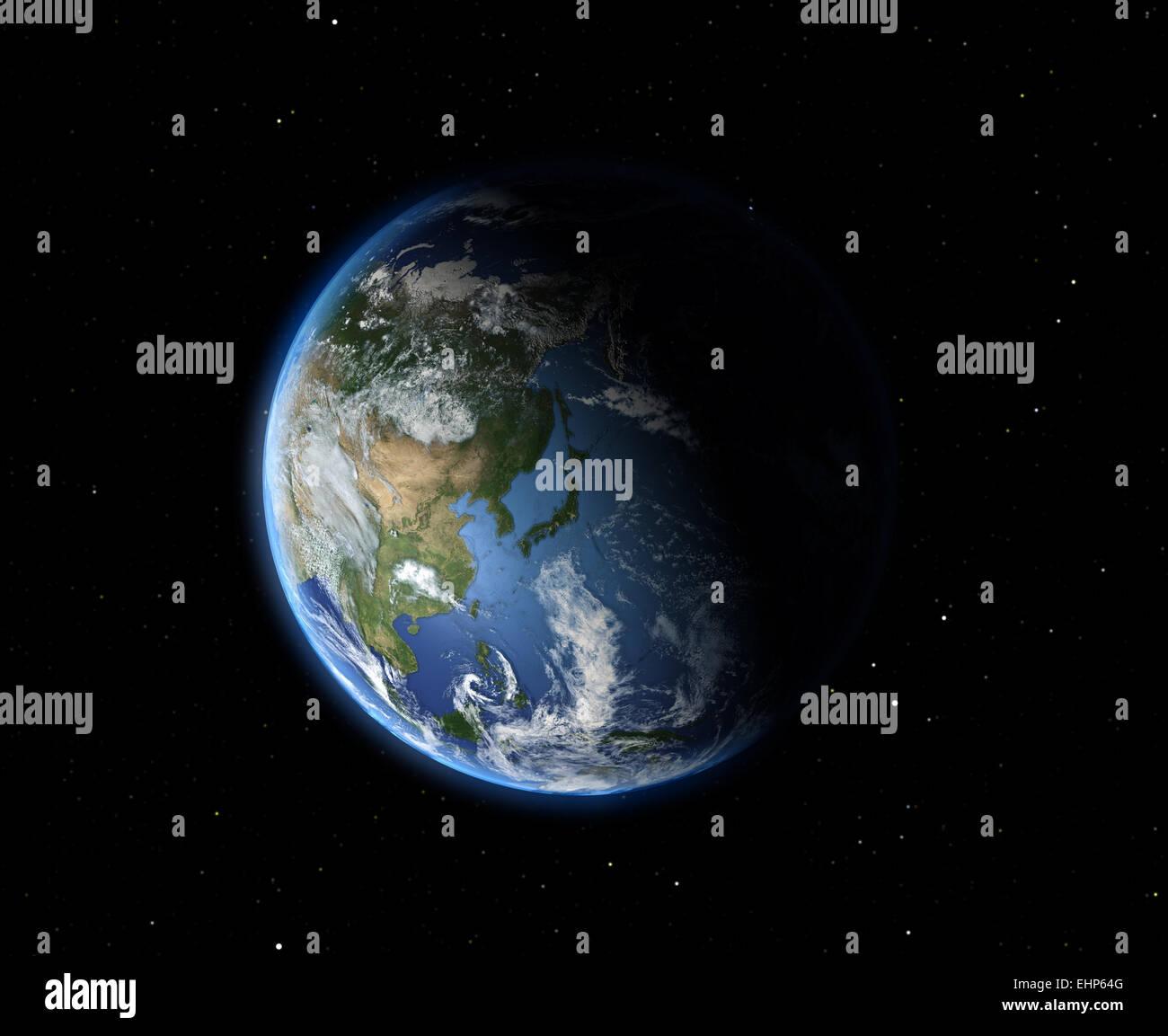 Die Erde aus dem Weltraum. Asien Stockfoto