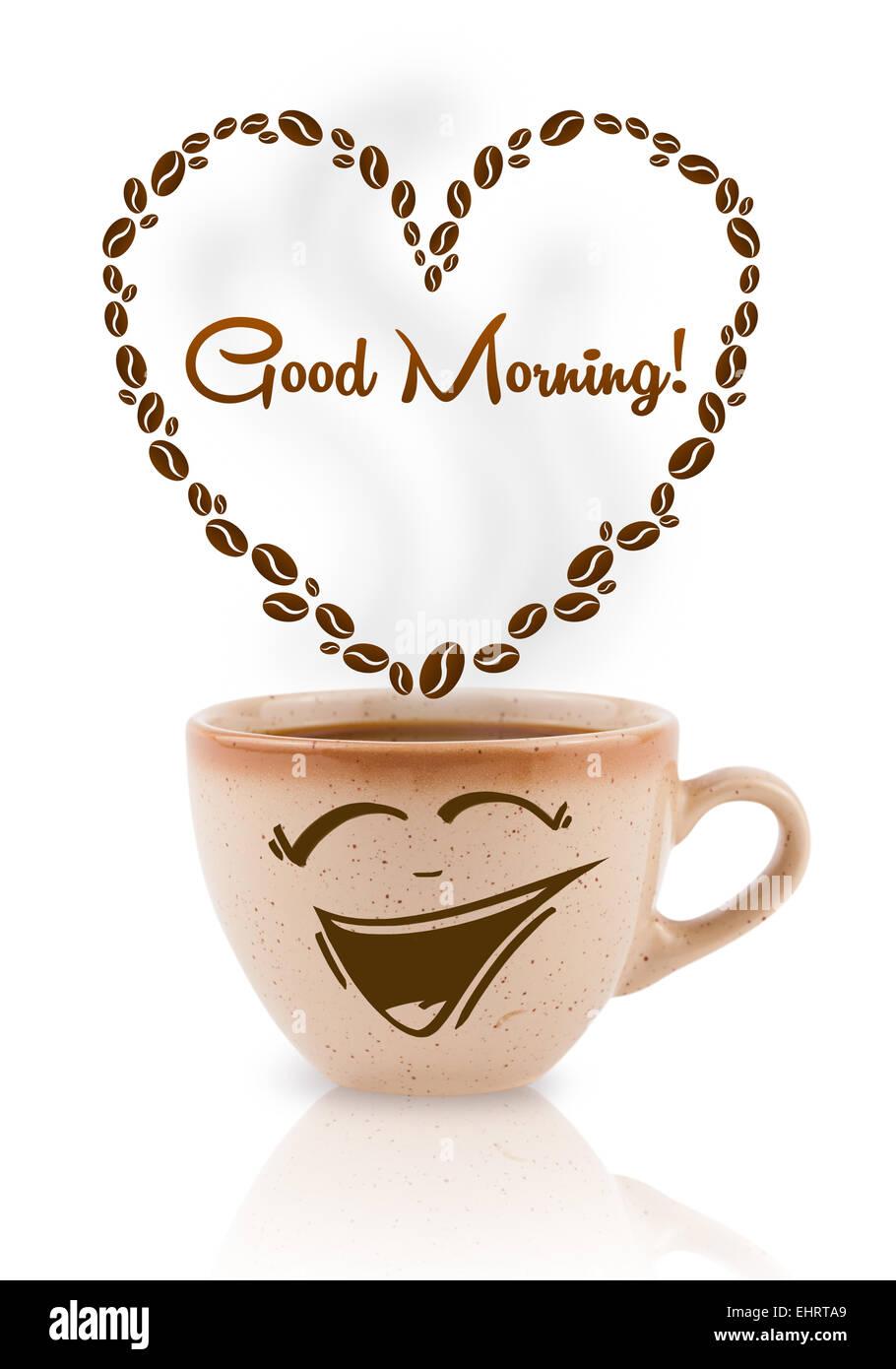 Kaffeetasse Mit Kaffeebohnen Förmigen Herzen Mit Guten