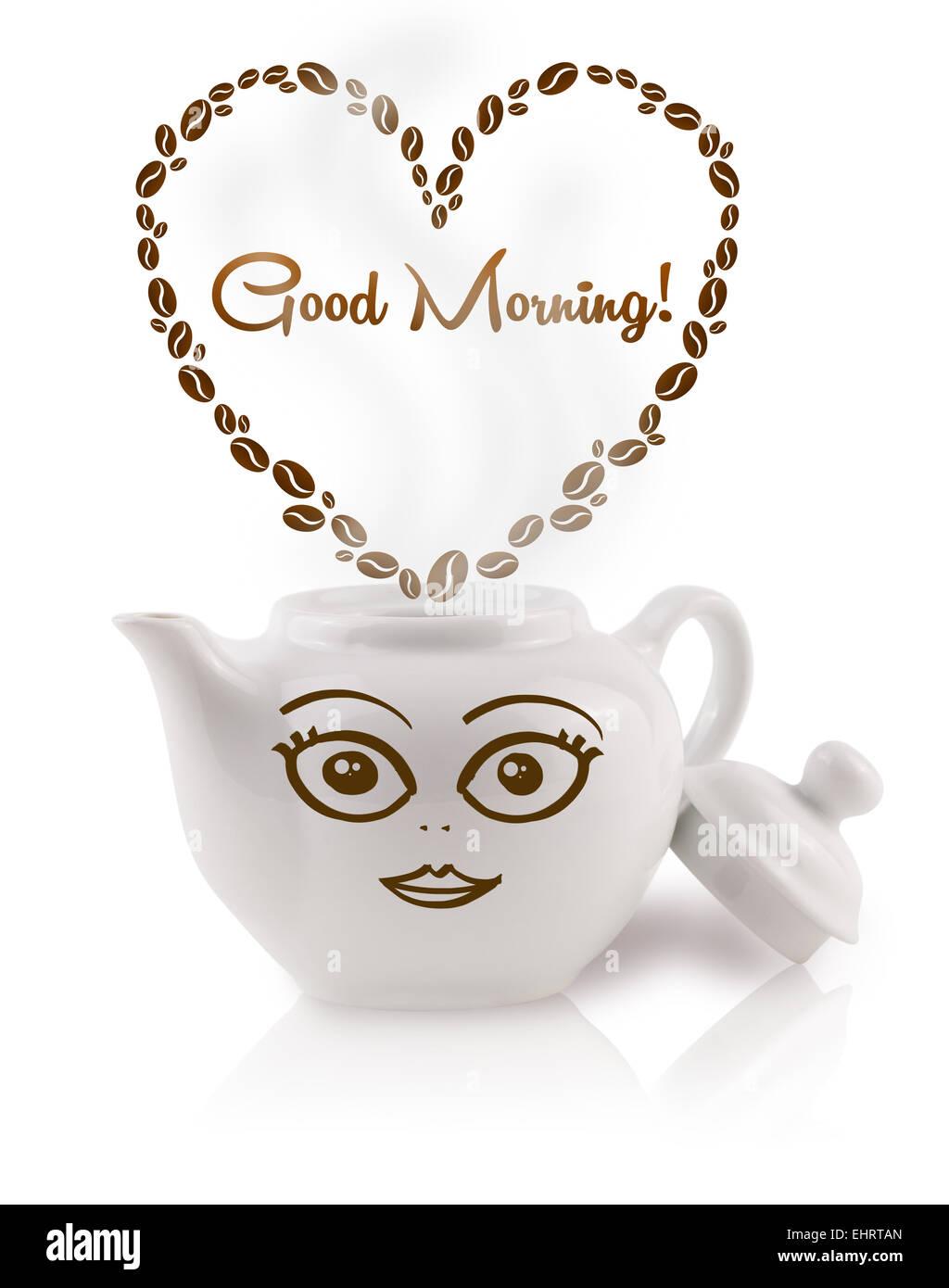 Kaffeekanne Mit Kaffeebohnen Förmigen Herzen Mit Guten
