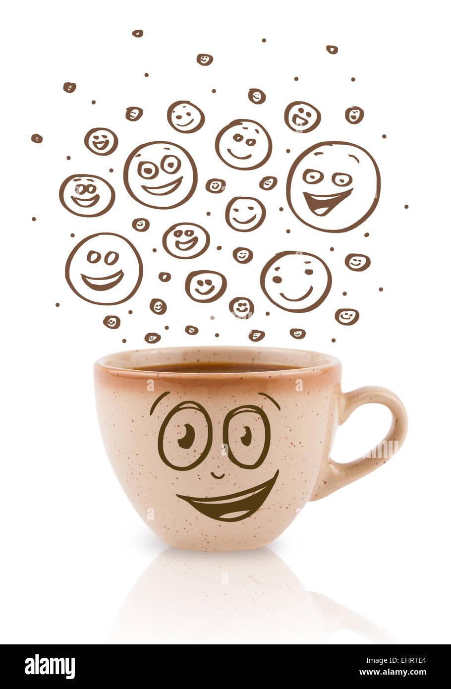Kaffeetasse Mit Braunen Hand Gezeichnet Happy Smiley Gesichter