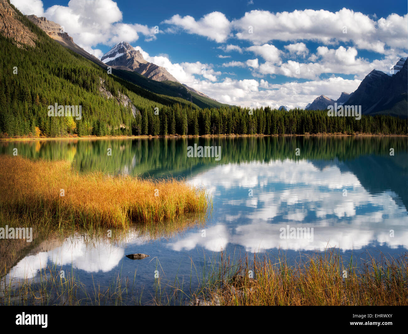Wolken und Reflexion im Wasservögel Seen. Banff Nationalpark. Alberta. Kanada. Stockbild
