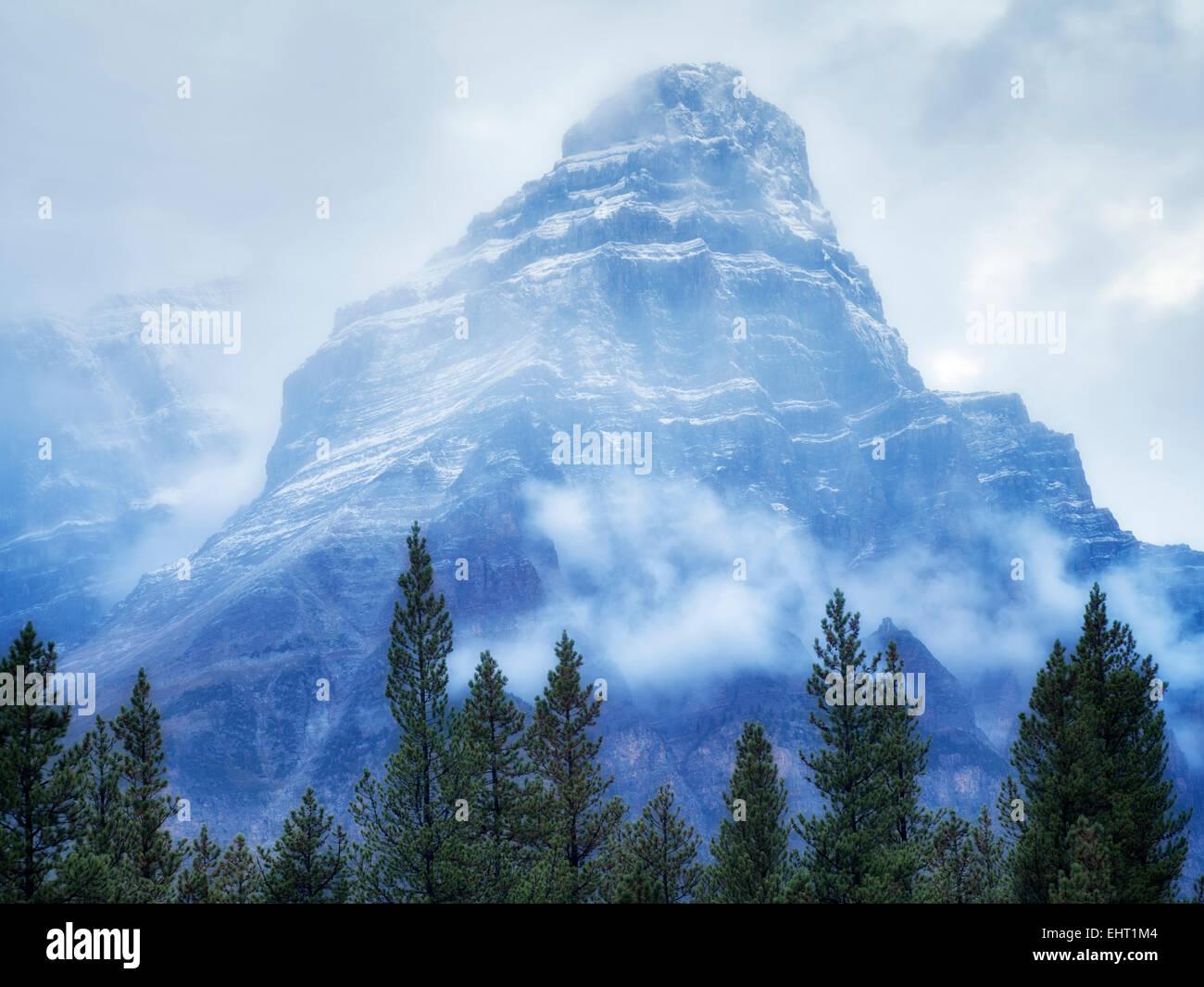 Mt. Chephren bei Nebel und Regen/Schnee. Banff Nationalpark, Alberta, Kanada Stockbild
