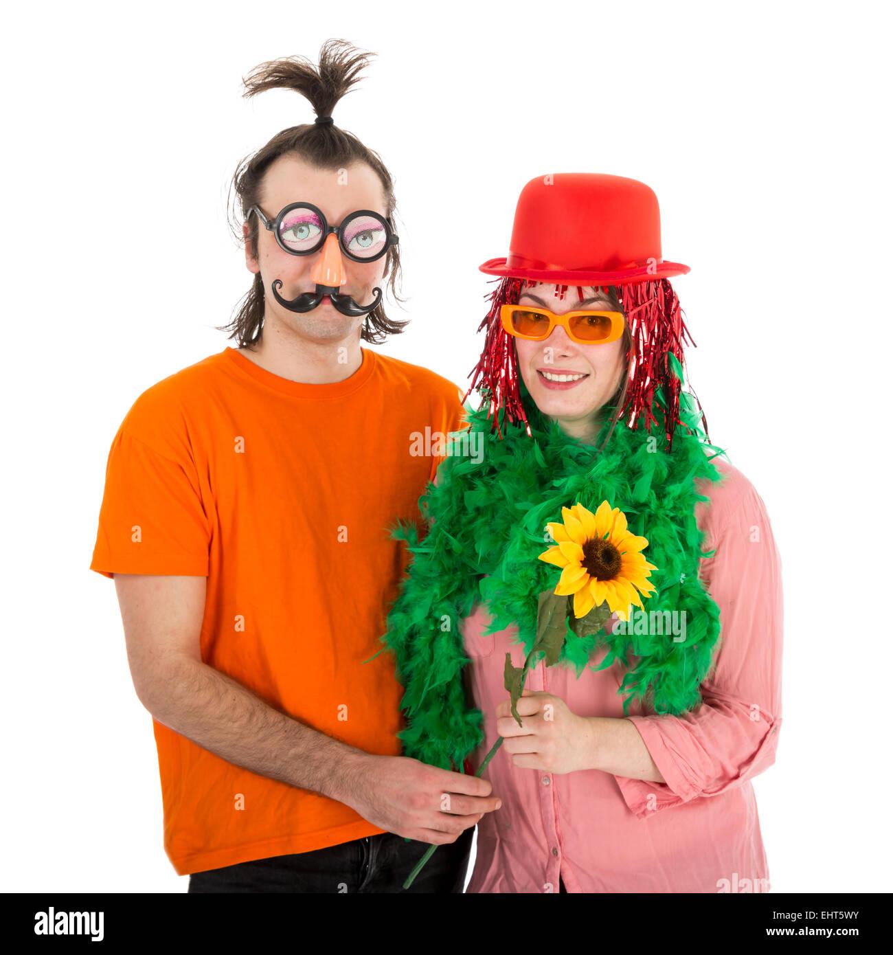 Mann Und Frau In Lustige Faschingskostume Isoliert In Weiss