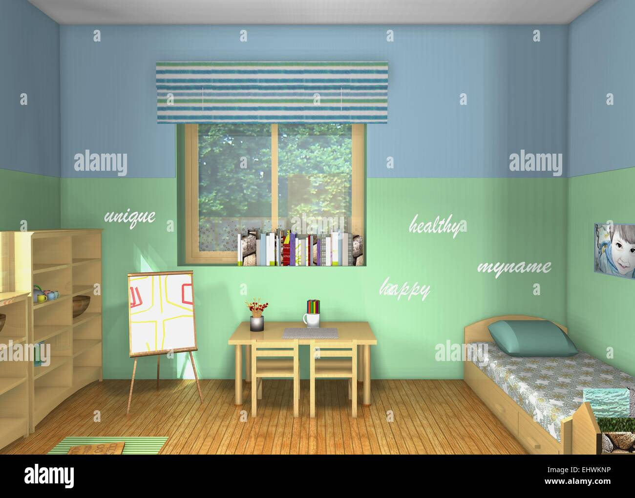 kinderzimmer von maria montessori 3d draufsicht design inspiriert kleinkinder zimmer stockfoto. Black Bedroom Furniture Sets. Home Design Ideas