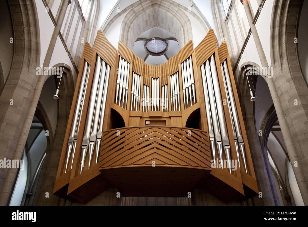 Orgel, Salvator-Kirche in Duisburg, Deutschland. Stockbild
