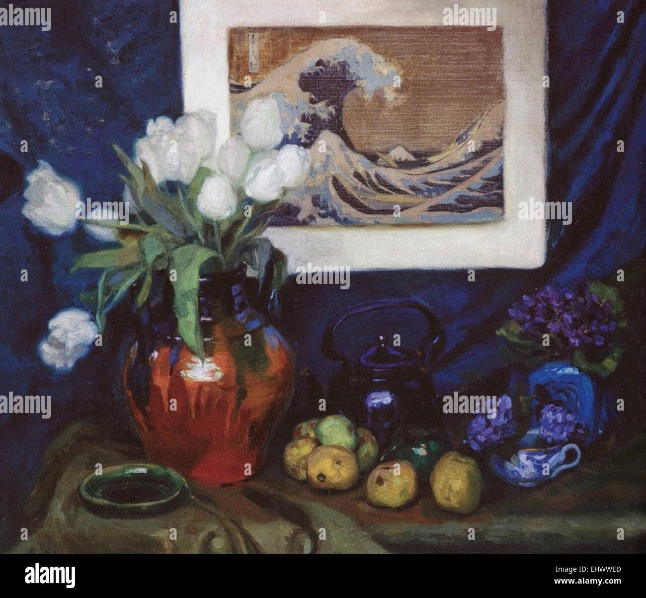 Diego Rivera-Stillleben mit japanischen drucken Stockbild