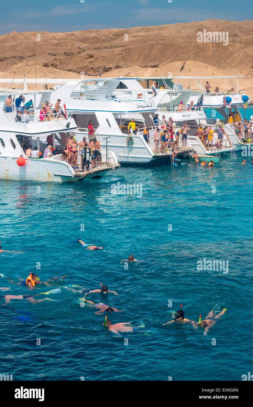 Touristen-Schnorcheln rund um die Korallenriffe im Roten Meer, nur vor der Küste von Hurghada in Ägypten Stockbild