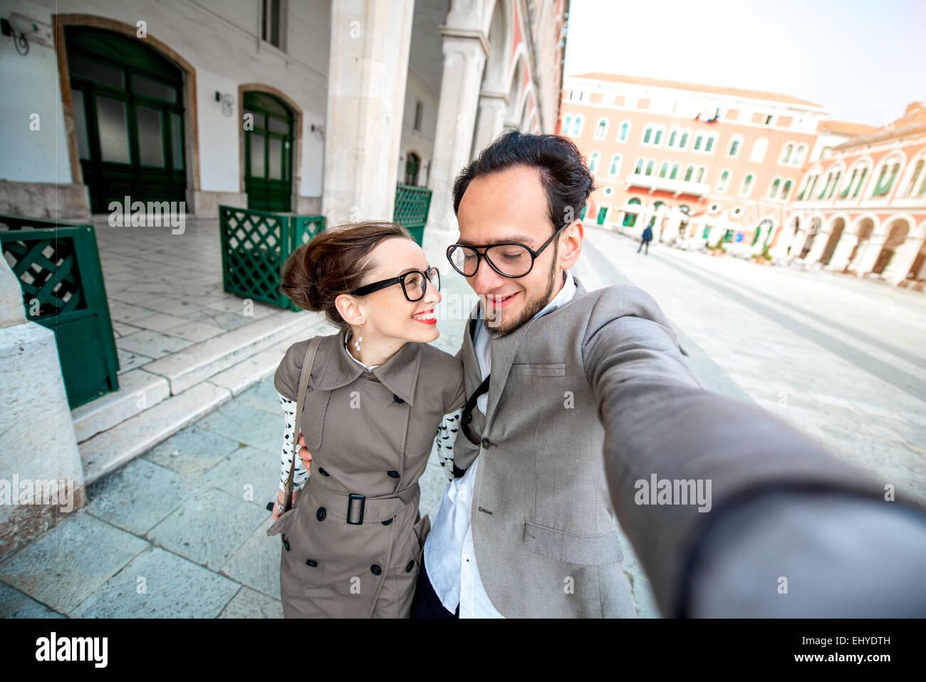 Paar Selfie Aufnahme Stockfoto