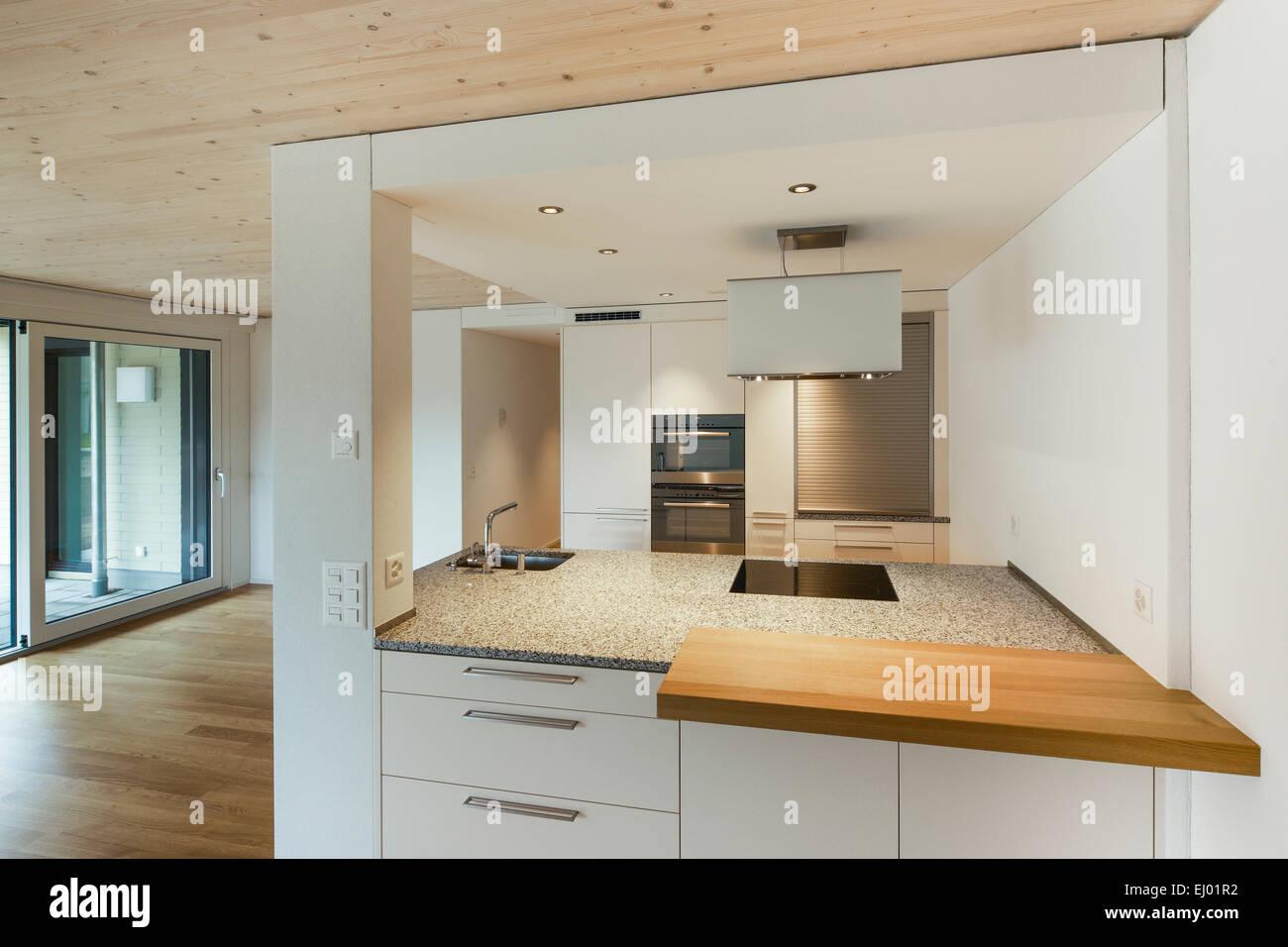Architektur, Chromstahl, Haus, Haus, Holz, Inneneinrichtung, Küche ...