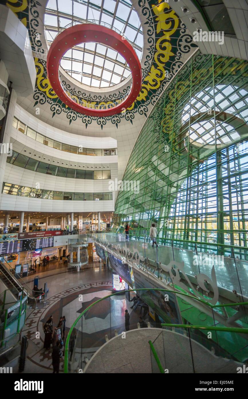 Flughafen, Astana, Stadt, International, Kasachstan, Zentralasien, Architektur, Decke, Kaufhaus, Einkaufszentrum, Stockbild