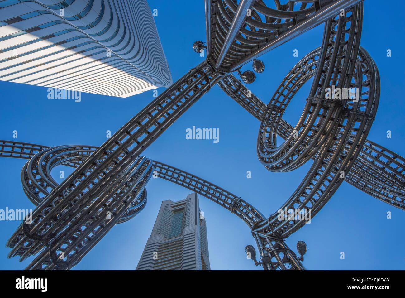 City, Japan, Asien, Wahrzeichen, Yokohama, Architektur, Kunst, künstlerische, bunt, komplex, Design, futuristisch, Stockbild