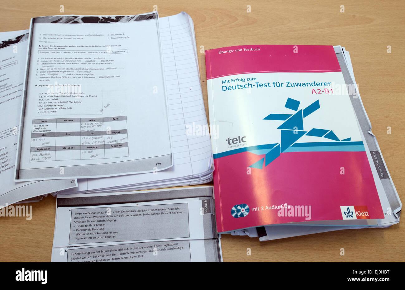 Strausberg Deutschland 12 März 2015 Ein Lehrbuch Deutsch Test