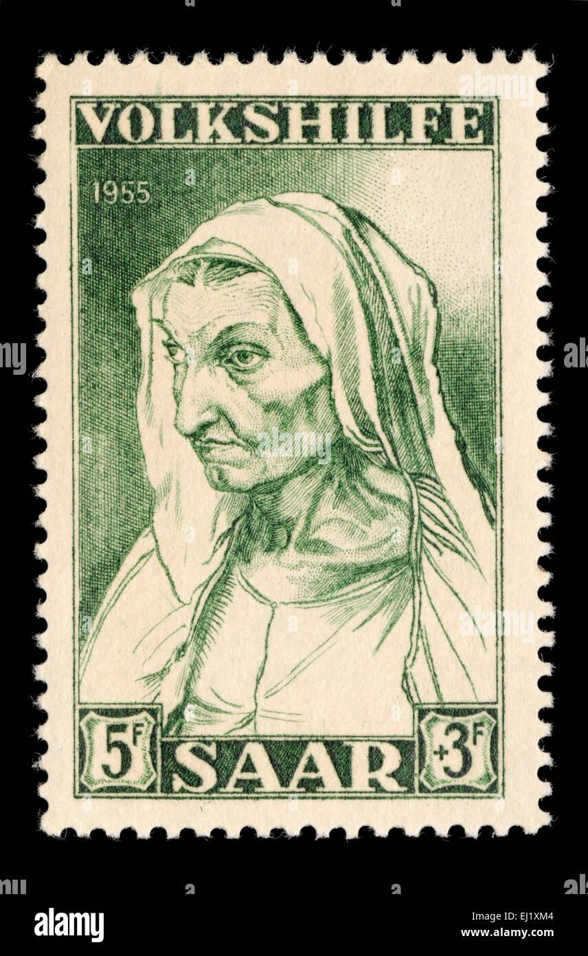 Saar-Briefmarke von 1955 - Volkshilfe Nächstenliebe Stempel. Albrecht Dürer; Durer Mutter Stockbild