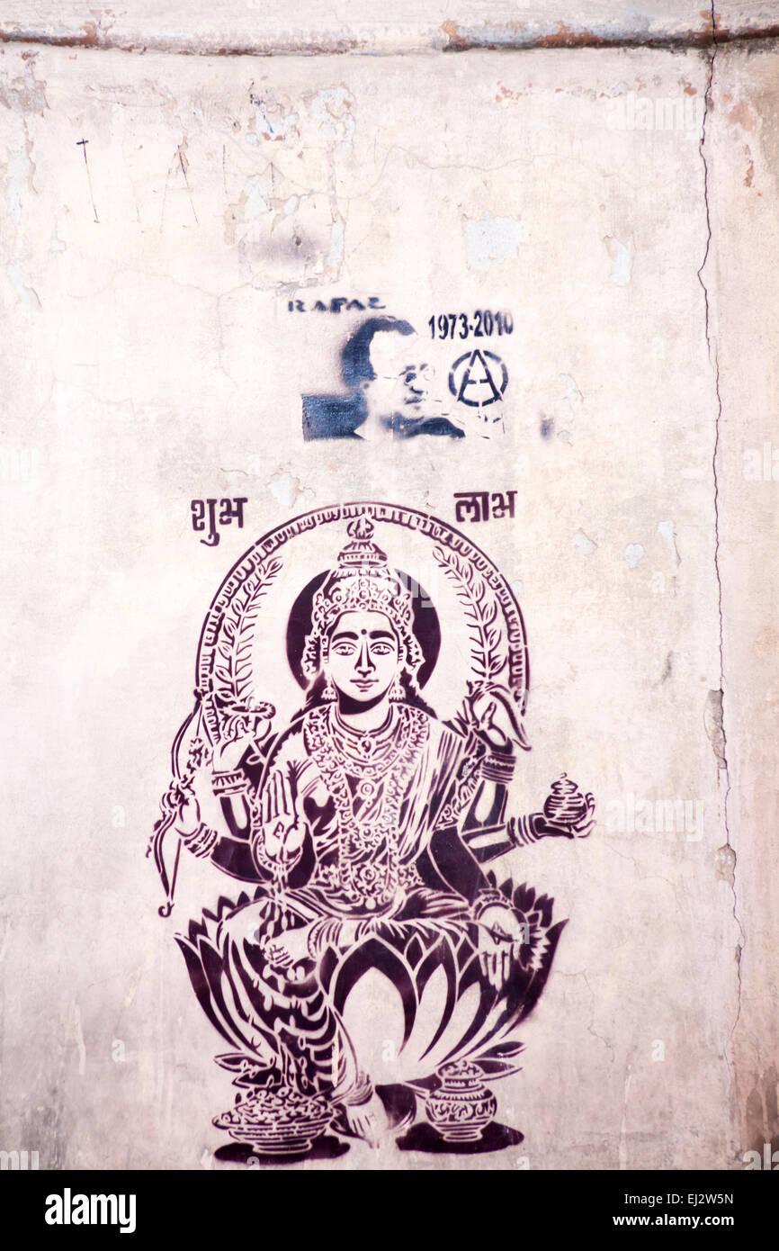 Street Graffiti Artwork Die Göttin Des Reichtums Lakshmi Auf Lotus
