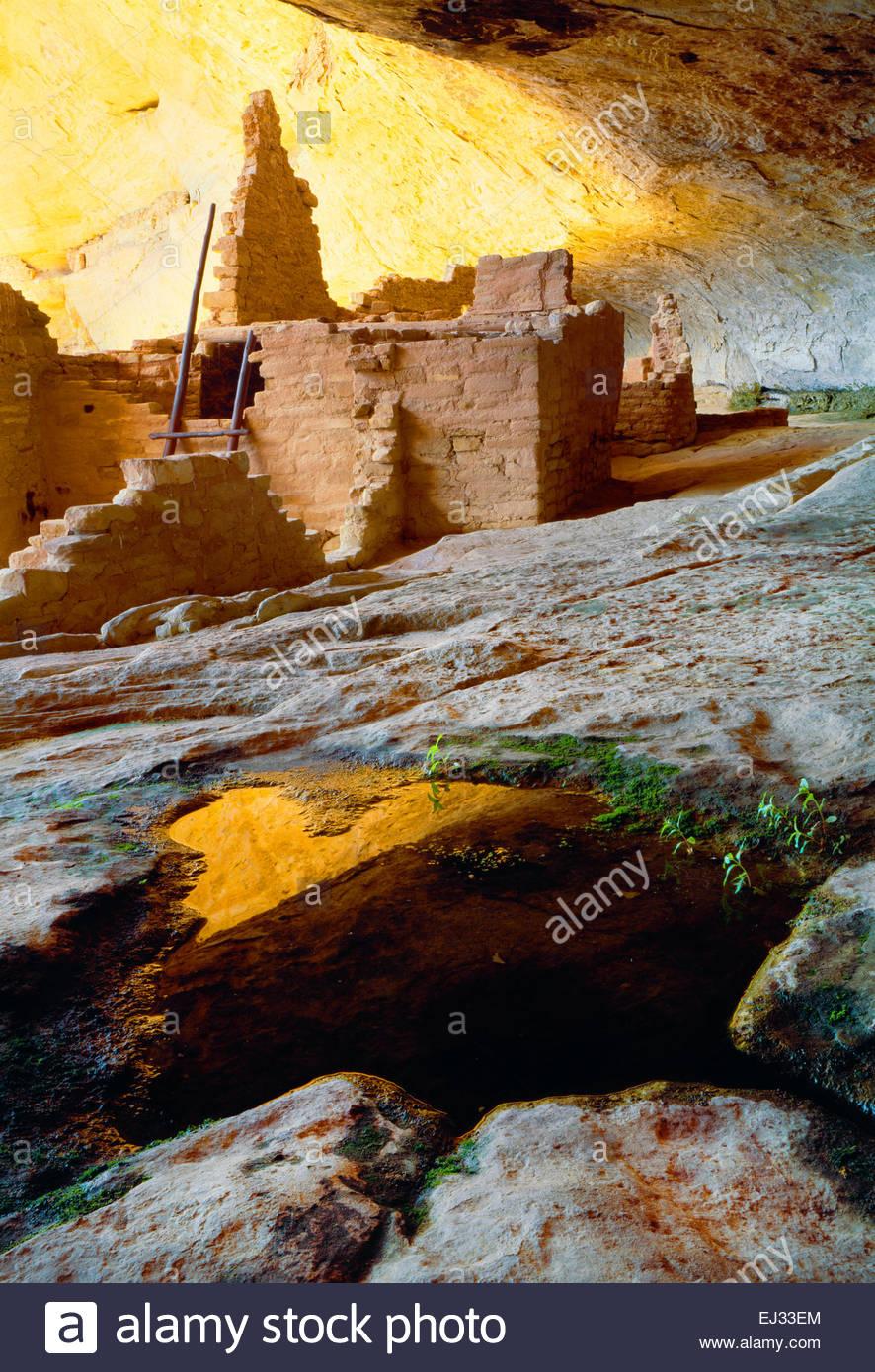 """Natürliche Quelle im Inneren """"Lange Haus"""" Klippe Wohnung """"Wetherill Mesa"""" [Mesa Verde National Stockbild"""