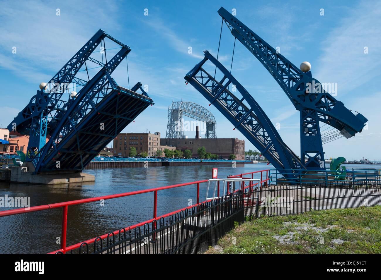 Slip-Zugbrücke. Hafen von Duluth. Lake Superior. Minnesota. USA. Stockbild