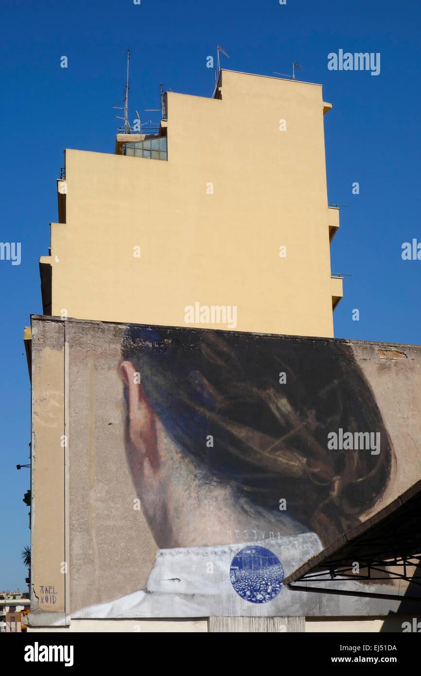 Rom. Italien. Nessuno Künstlers Axel Void auf Via del Porto Fluviale, Ostiense.  Avanguardie Urbane Roma Street Stockbild