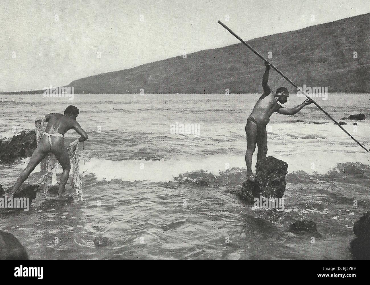 Die Kanaka ist - natürlich und aus Wasser - amphibische Hawaii 1916 Stockbild