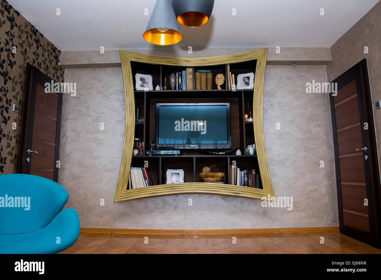 Exzentrisches Design Wandregal für Wohnzimmer in gold Farbe ...