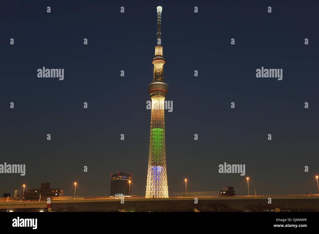 Tokyo Skytree Beleuchtung in der Nacht, Tokyo, Japan Stockbild