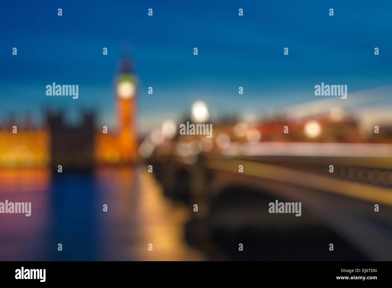 Bokeh von Big Ben und Westminster Bridge, London Stockbild