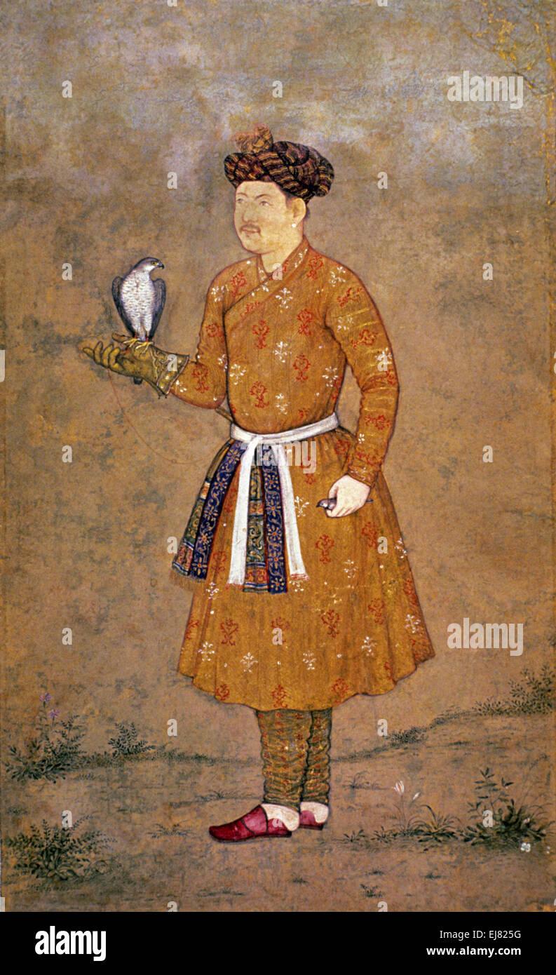 Portrait eines Edelmannes mit einem Falken. Moghul-Miniaturmalerei ca. 1620 N.Chr. Indien Stockbild