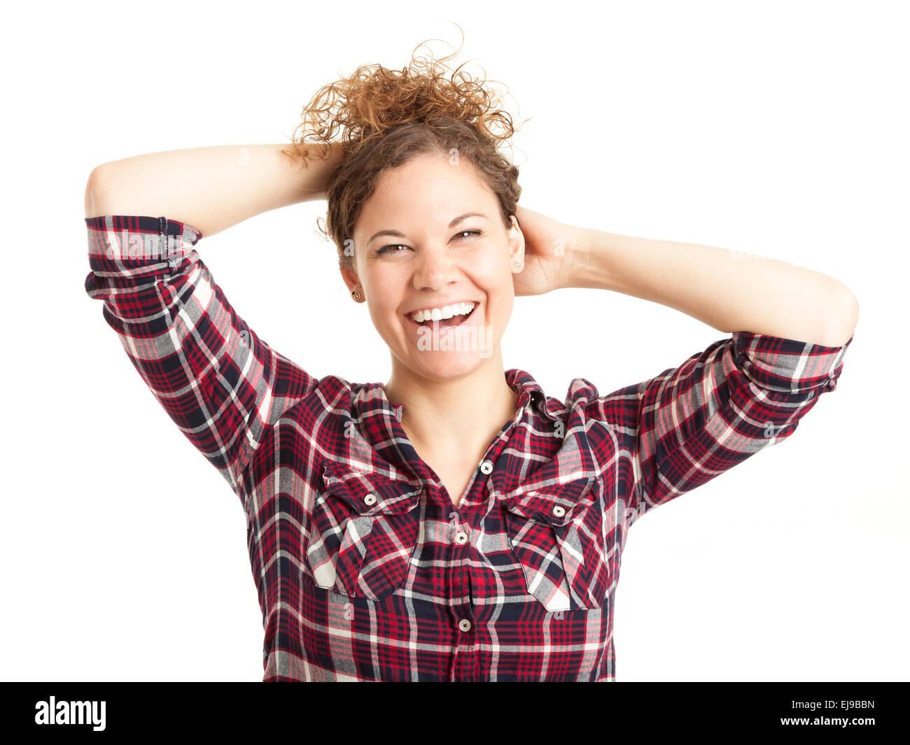Junge glückliche Frau mit lockigem Haar Stockbild